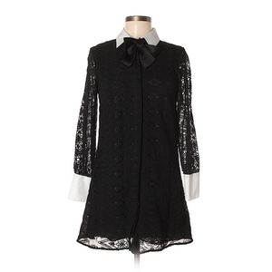 ZARA Black Lace Dress w/White Collar and Cuffs/M